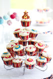 Royal Jubilee cupcakes. Cupcakes to celebrate the Diamond Jubilee of Queen Elizabeth II Stock Photos