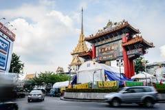 Royal Jubilee Gate. Bangkok, Thailand - October 1, 2014: People are praying to the gods at Royal Jubilee Gate on Nine Emperor Gods Festival, Bangkok, Thailand Stock Images