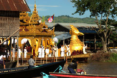 Royal Karaweik Barge in Phaung Daw Oo Pagoda festival,Myanmar. Stock Photos
