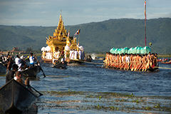 Royal Karaweik Barge in Phaung Daw Oo Pagoda festival,Myanmar. Royalty Free Stock Photos
