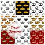 Royal king crown patterns set Stock Images