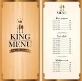 Royal king menu and Price Royalty Free Stock Images
