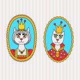 Royal king queen doodle cats portraits set. Royal king queen doodle cats character portraits vector set Stock Photography