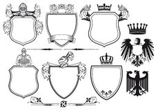 Royal knights set of icons. Set of icons and illustrations related to Royal Knights Coat of Arms Royalty Free Stock Image