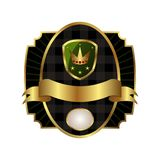 Royal label with golden frame, shield, crown Royalty Free Stock Images