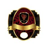 Royal label with golden frame, shield, crown Royalty Free Stock Photo