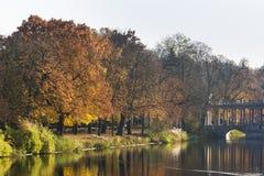 Royal Lazienki Park in autumn,  Warsaw, Poland. Royalty Free Stock Photo