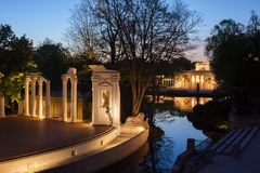 Royal Lazienki Park in Warsaw at Night. Classical amphitheatre stage and Palace on the Isle, city landmark, Poland stock photos