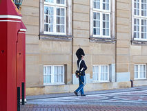 The Royal Life Guard at the Amalienborg Palace in Copenhagen, Denmark. Royalty Free Stock Images