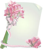 Royal Lily. Pink elegant royal lily flowers, glamorous ribbon and charm paper for your text Royalty Free Stock Image