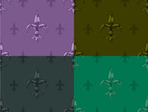 Royal lily graphic seamless color pattern set. Royal lily graphic detailed seamless color pattern vector set Royalty Free Stock Photo