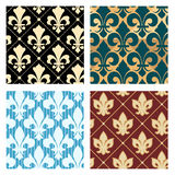 Royal lily patterns. Set. Flower seamless decoration background endless, vector illustration Royalty Free Stock Image