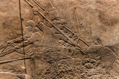 The royal Lion Hunt, Assyrian art form 645 - 635 BC Stock Photo