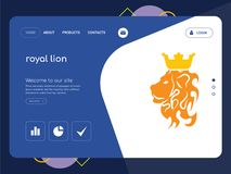 Royal lion Landing page website template design. Quality One Page royal lion Website Template Vector Eps, Modern Web Design with flat UI elements and landscape Royalty Free Stock Photo