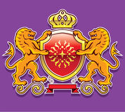 Royal Lions Shield Crown Badge Stock Photography