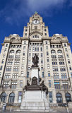 Royal Liver Building and Alfred Lewis Jones Memorial in Liverpoo Royalty Free Stock Photography