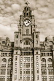 Royal Liver Building Facade. ENGLAND, LIVERPOOL - 15 NOV 2015: Royal Liver Building Facade royalty free stock photo