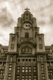 Royal Liver Building Facade low angle. ENGLAND, LIVERPOOL - 15 NOV 2015: Royal Liver Building Facade low angle stock photos