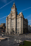 Royal Liver Building, Liverpool, England. Overlooking the River Mersey and dominating one of the worlds most famous waterfront skylines Stock Photo