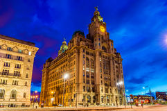 Royal Liver Building in Liverpool in the evening Stock Photo