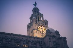 Royal Liver Building in Liverpool. North West England, Poland royalty free stock photos