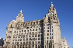 Royal Liver Building in Liverpool. North West England, United Kingdom royalty free stock photos