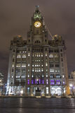 Royal liver building. Liverpool`s royal liver building on the waterfront iconic liverbird perched on the highest point of the building stock photo