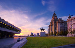 Royal Liver building Liverpool. Royal Liver building at sunset on Liverpool Waterfront stock images