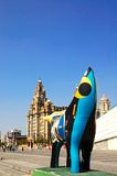 The Royal Liver Building and Superlambanana. Stock Images