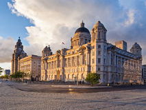 Royal Liver and Cunard building. The Royal Liver building and Cunard building at sunset, Liverpool, Merseyside, UK royalty free stock image
