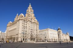 Royal Liver and Port of Liverpool Building. In Liverpool. Liverpool, North West England, UK royalty free stock images