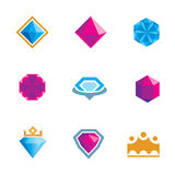 Royal luxury shine diamond gems symbol of king rocks logo Royalty Free Stock Photo