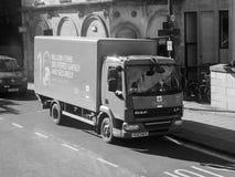 Royal Mail ciężarówka w Bristol w czarny i biały Obraz Stock