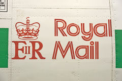 Royal Mail logo. An image of a Royal Mail logo on the fuselage of a plane Royalty Free Stock Photos