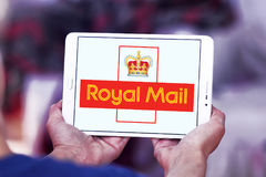 Royal mail postal shipping company logo. Logo of royal mail postal shipping company on samsung tablet Royalty Free Stock Photos