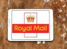 Royal mail postal shipping company logo. Logo of royal mail postal shipping company on samsung tablet on wooden background Stock Photos