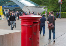 Royal mail red post box in Canary Wharf, London Stock Images