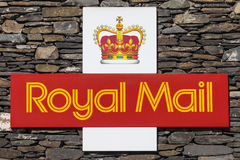 Royal Mail Symbol. CUMBRIA, UK - APRIL 8TH 2017: The symbol for Royal Mail on a dry stone wall in Cumbria, UK, on 8th April 2017 royalty free stock images