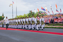 Royal Malaysian Police marching during Malaysia Independence Day Royalty Free Stock Photography