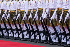 Royal Malaysian Police Marching During Malaysia Independence Day Stock Photos