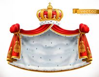 Royal mantle and crown. 3d vector icon. On white background Royalty Free Stock Images