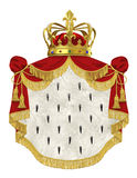 Royal mantle with crown. Isolated on white Stock Photos