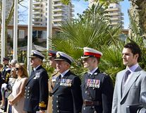 Royal Marines 350th Anniversary Service. Royal Marines 350th anniversary of their formation held at Ocean Village, Gibraltar on the 28th October 2014. Mass Stock Image