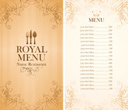Royal menu for a cafe Royalty Free Stock Photography
