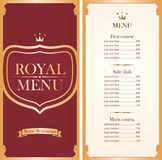 Royal menu for a cafe or restaurant Royalty Free Stock Photo