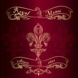 Royal menu design with fleur de lis Royalty Free Stock Image