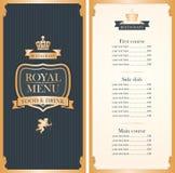 Royal menu for restaurant Royalty Free Stock Images