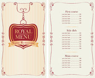 Royal menu for restaurant or cafe with price list Royalty Free Stock Images