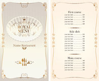 Royal menu for restaurant or cafe with price list Stock Photos