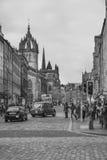 Royal Mile Edinburgh City, Scotland. Black&White picture of the Royal Mile in Edinburgh Royalty Free Stock Images